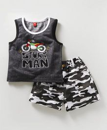 Wow Clothes Sleeveless Tee & Shorts Embroidered Bike - Dark Grey