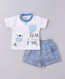 Wow Half Sleeves T-Shirt With Shorts Bear Print - White Blue