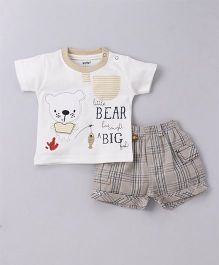 Wow Half Sleeves T-Shirt With Shorts Bear Print - White Beige