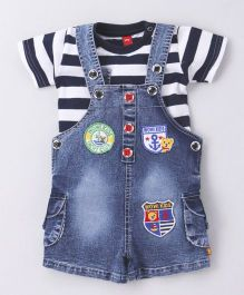 Wow Clothes Denim Dungaree And Stripe T-Shirt - Dark & Navy Blue White