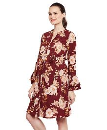 Oxolloxo Floral Bell Sleeve Maternity Dress - Maroon