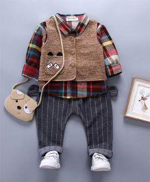 Pre Order - Awabox Jacket With Shirt & Jeans Set - Coffee