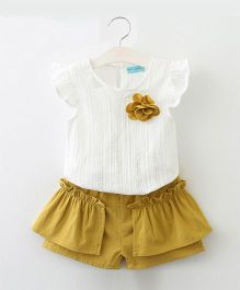 Pre Order - Awabox Flower Applique Top And Shorts Set - Yellow & White