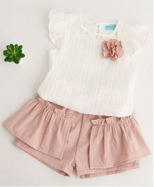 Pre Order - Awabox Flower Applique Top And Shorts Set - White & Pink