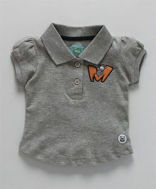SoLittle- M Monkey Embroidered Polo Tee - Grey