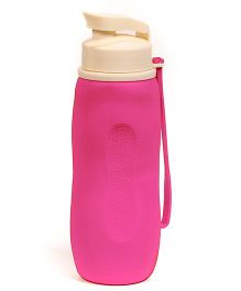 Baby Oodles Collapsible Silicon Sipper Water Bottles Pink - 750 ml