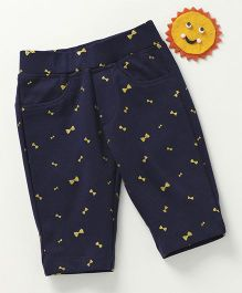 Vitamins Bow Print Jeggings - Navy Blue