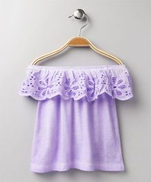 Vitamins Off Shoulder Top Lace Design - Purple