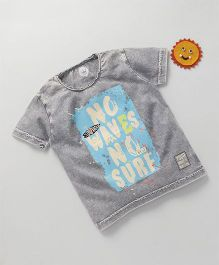 Vitamins Half Sleeves T-Shirt Text Print - Grey