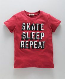 Fox Baby Half Sleeves T-Shirt Text Print - Red