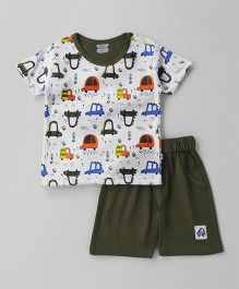 Mini Taurus Half Sleeves T-Shirt & Shorts Set Car Print - Olive Green White