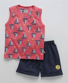 Mini Taurus Sleeveless T-Shirt And Shorts Ship Print - Red Navy