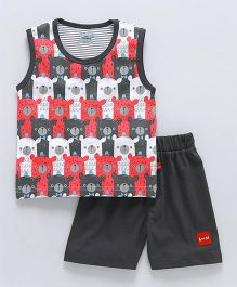 Mini Taurus Sleeveless T-Shirt And Shorts Bear Print - Grey Red