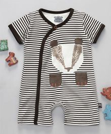 Mini Taurus Half Sleeves Romper Stripes Print  - Brown
