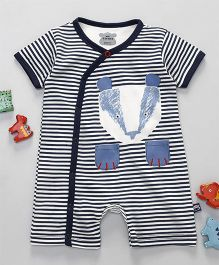 Mini Taurus Half Sleeves Romper Stripes Print  - Blue