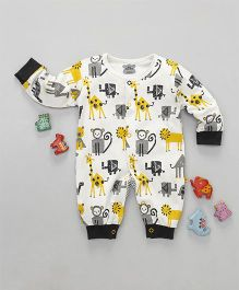 Mini Taurus Full Sleeves Romper Animal Print  - Multi Colour Yellow