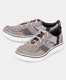 JUMP USA Smart Print Knitted Sneakers - Beige & Black