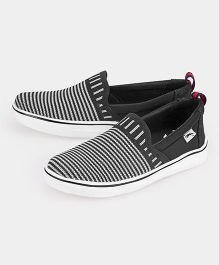 JUMP USA Striped Print Slip On Sneakers - Black