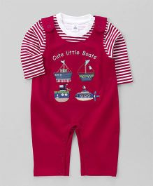 ToffyHouse Dungaree Style Romper With Stripe T-Shirt Boat Patch - White Red