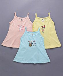 Cucumber Singlet Slips Bunny Print Pack of 3 - Yellow Peach Blue