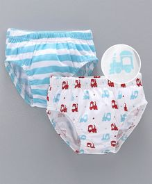 Babyhug Briefs Stripes & Train Engine Print Pack of 2 - Sky Blue White
