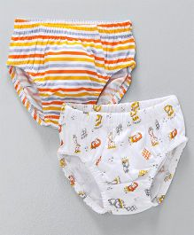 Babyhug Briefs Stripes & Animal Print Pack of 2 - White Orange