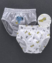 Babyhug Briefs Elephant & Giraffe Print Pack of 2 - Grey White