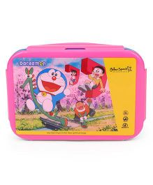 Doraemon Lunch Box With Clip Lock Closure - Pink Blue