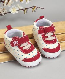 Cute Walk by Babyhug Check Shoes Style Booties - Dark Red Cream
