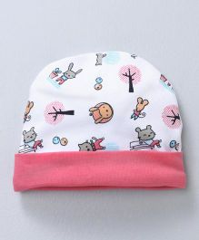Babyhug Cap Animal Print - Pink & White