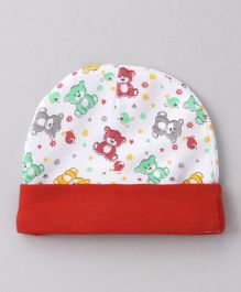 Babyhug Round Cap Bear Print - Red White
