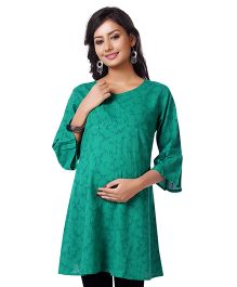 Kriti Three Fourth Sleeves Nursing Tunic Floral Print - Green