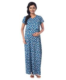 Kriti Short Sleeves Maternity Nursing Nighty Floral Print - Blue
