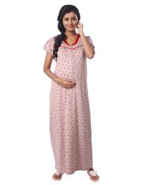 Kriti Half Sleeves Knit Maternity Nursing Nighty Allover Print - Beige