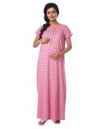 Kriti Short Sleeves Maternity Nursing Nighty Abstract Print - Pink
