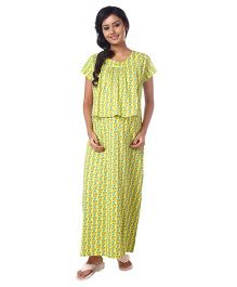 Kriti Half Sleeves Printed Knit Maternity Nursing Nighty - Yellow