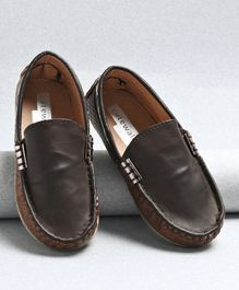 Cute Walk by Babyhug Slip On Style Loafer Shoes - Dark Brown