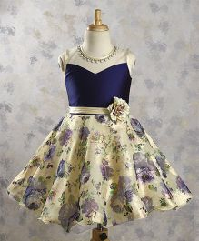 Bluebell Floral Party Dress With Attached Neckpiece - Navy Cream