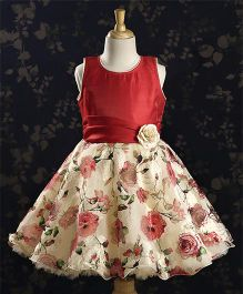 Bluebell Party Dress Floral Applique - Maroon