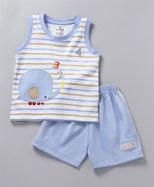Child World Sleeveless T-Shirt With Shorts Elephant Patch - Blue