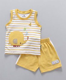 Child World Sleeveless T-Shirt With Shorts Elephant Patch - Yellow