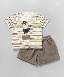 Child World Half Sleeves Stripes T-Shirt With Corduroy Shorts - Cream & Beige