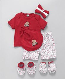 Mee Mee Clothing Gift Set Of 8 Teddy Patch & Numbers Print - Red White