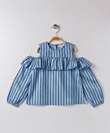 Hugsntugs Full Sleves Cold Shoulder Top With Stripes - Blue & Black