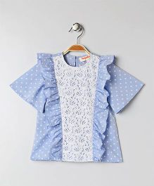 Hugsntugs Top With Lace - Blue
