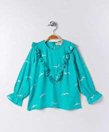 Hugsntugs Top With Bird Print - Aqua Green
