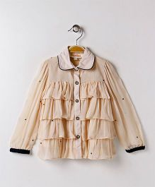 Hugsntugs Shirt Top With Frills - Brown