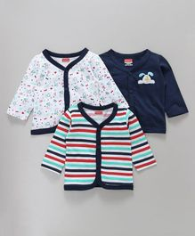 Babyhug Full Sleeves Vest Puppy Print Pack of 3 - Navy