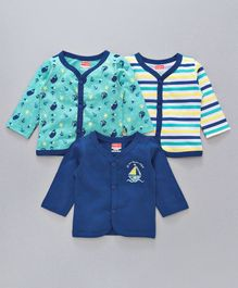 Babyhug Full Sleeves Vests Pack of 3 - Blue Sea Green White