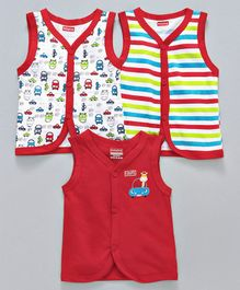 Babyhug Sleeveless Vests Stripe & Car Print Pack of 3 - Red Multicolour